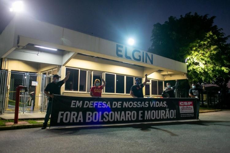 Mobilizações em frente à Elgin pelo dia nacional de luta