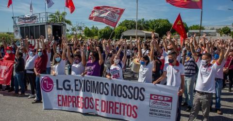 Trabalhadores da LG e das fornecedoras realizam luta unificada em Taubaté