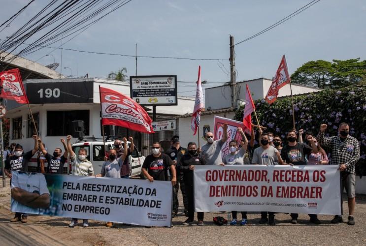 Manifestação em frente ao Conseg