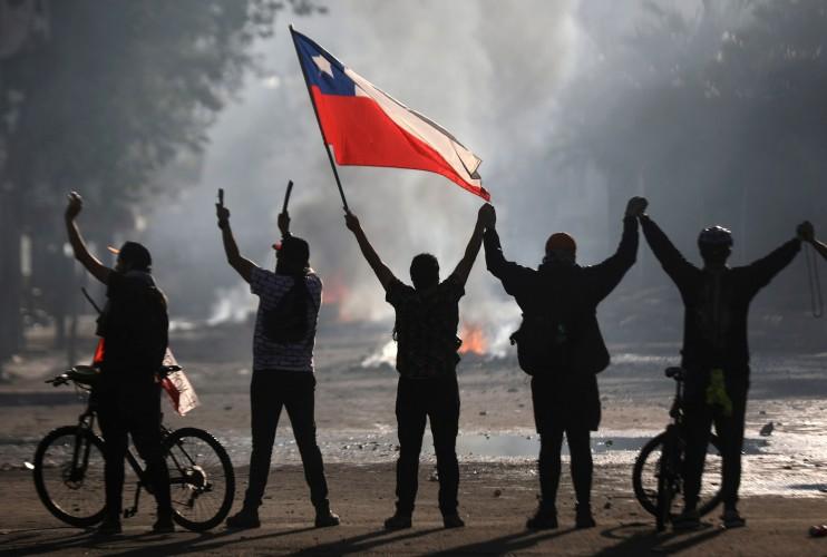 Manifestantes protestam no Chile em 2019