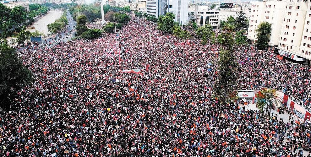 Manifestação contra Sebastián Piñera, no Chile