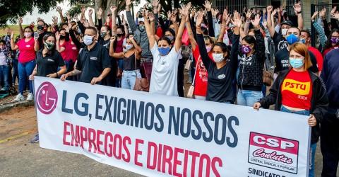 Em defesa dos empregos, trabalhadoras de fornecedoras da LG entram em greve
